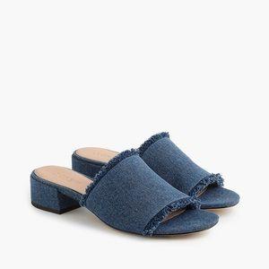 J CREW Denim Heeled Mule Sandals